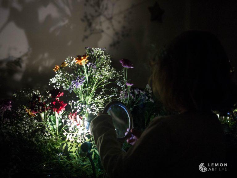 Niños observan los detalles de flores naturales