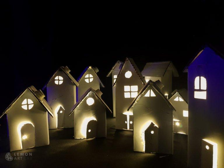 casitas de papel con luz